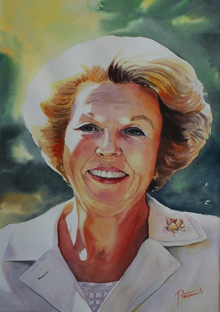 Aquarel Beatrix door Hannie Rieuwerts